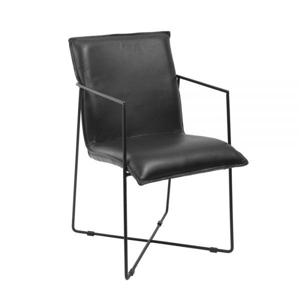 Stuhl Djuna Leder schwarz Gestell Metall schwarz