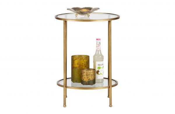 Beistelltisch MINA aus Metall gold und Glas