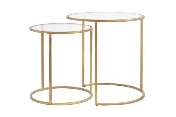 Beistelltisch Duarte 2er Set Glas Gestell antikgold
