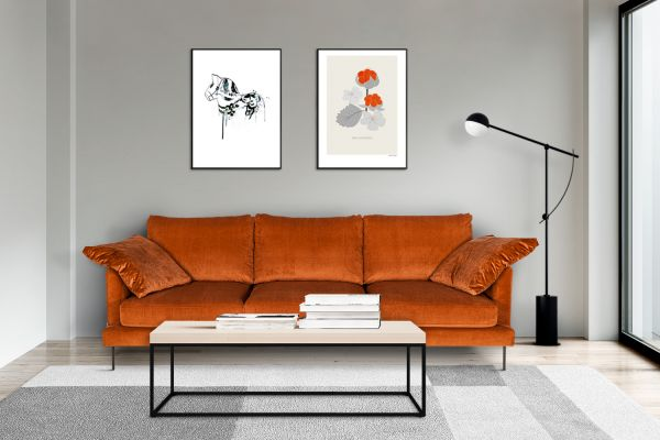 Sofa Boom Bezug orange beine Metall