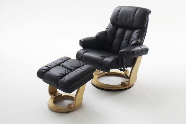 Relaxsessel CALGARY Relaxer mit Hocker Leder schwarz
