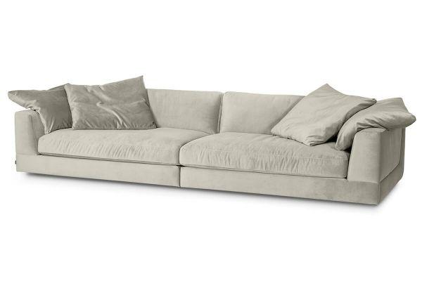 XXL Sofa Infinity Bezug Samt silber inkl. Kissen