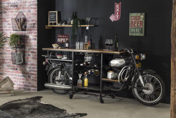 Weintisch Motorrad Theke Metall schwarz Vintage