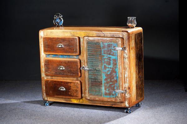 Kommode Fridge Vintage Altholz bunt