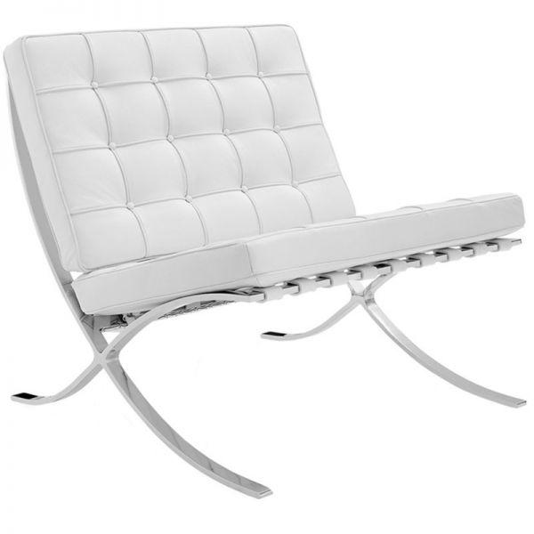 Sessel in Bauhaus Stil Leder weiß
