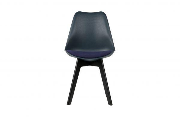 Stuhl stan 2er Set blau mit Kissen Beine Holz schwarz