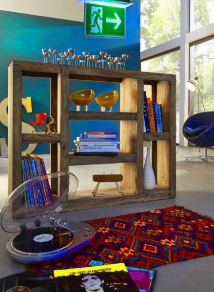 Regal Raumteiler Sheesham-Holz Massiv