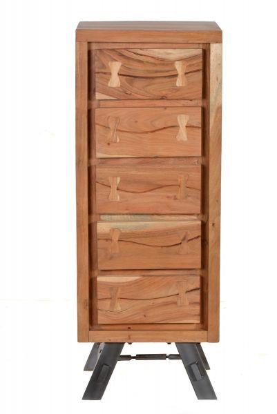 Kommode Akazienholz Beine Metall Schwarz Sideboard Highboard