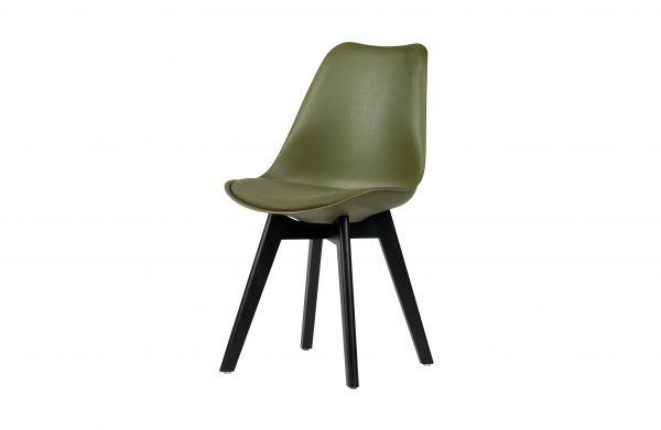 Stuhl stan 2er Set grün mit Kissen Beine Holz schwarz