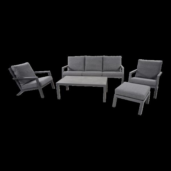 Outdoor Lounge Down Town Bank Sessel Sofa Aluminium grau