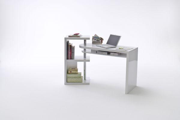 Schreibtisch MATTIS Kombi-Tischplatte schwenkbar Hochglanz weiß