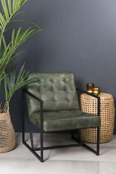 Sessel Itiso Leder grün Gestell schwarz