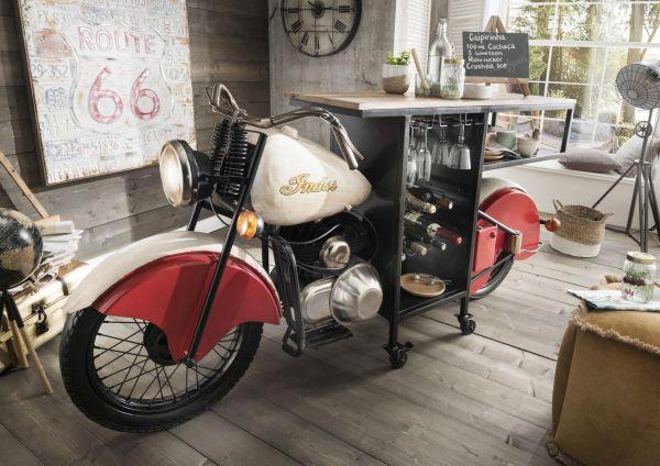 Motor-Bike-Bar Vintage rot weiß Holzplatte