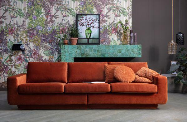 3-Sitzer Sofa Fame Bezug Velvet orange