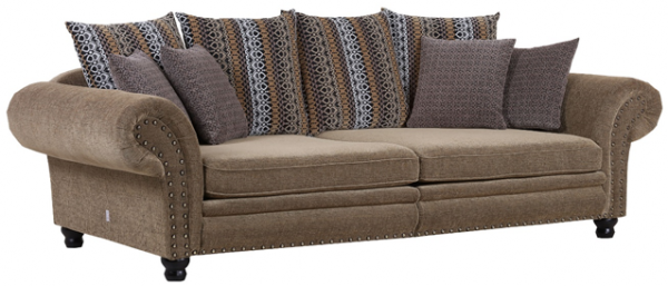 3-Sitzer Sofa Chalett Bezug Stoff braun