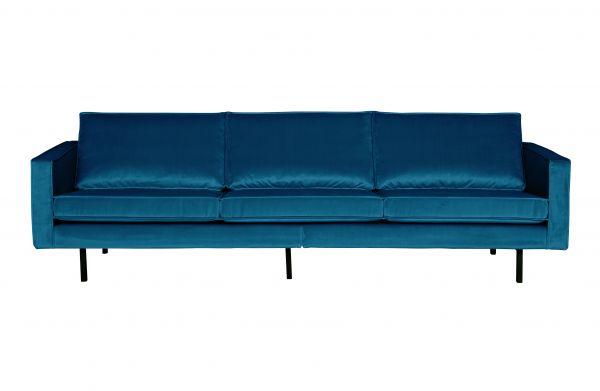 Sofa Rodeo 2,5 oder 3- Sitzer Bezug Samt blau Beine schwarz