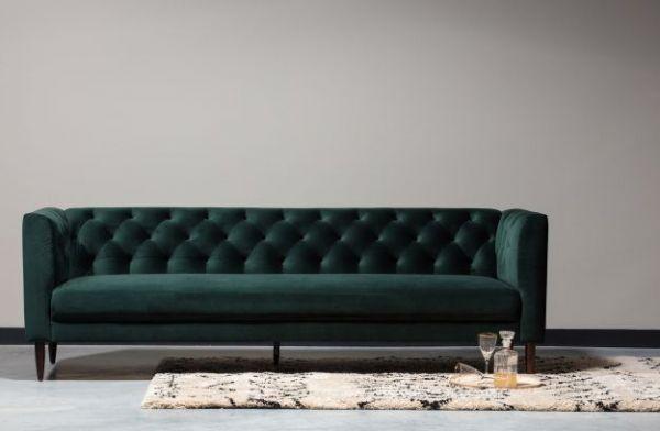 3-Sitzer Sofa Nisa Bezug Velvet dunkelgrün