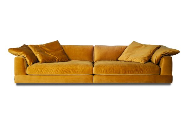 XXL Sofa Infinity Bezug Samt Senf inkl. Kissen