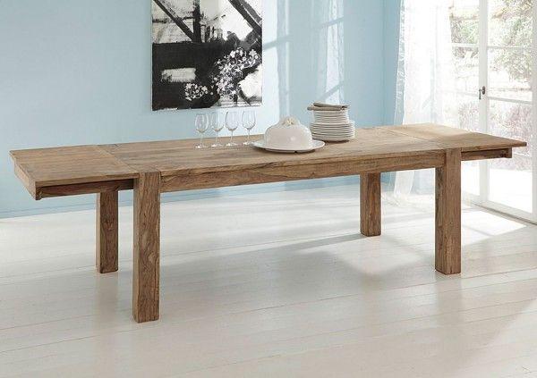 Esstisch BIG mit 2 Ansteckplatten Sheesham -Holz