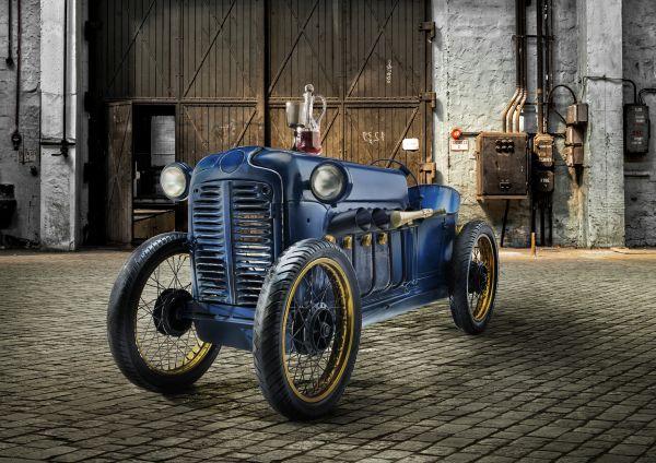 Oldtimer-Bar Rennwagen Unikat Vintage blau