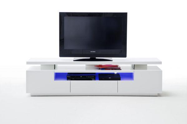 TV Lowboard Evelin Hochglanz weiß lackiert inkl LED Beleuchtung