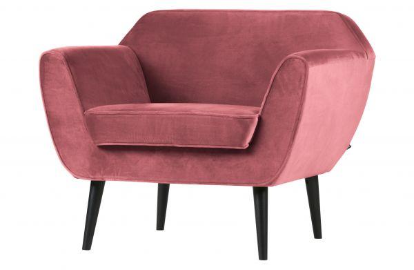Sessel Rocco Bezug Samt pink Beine schwarz