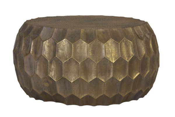 Couchtisch Kalan rund antik gold