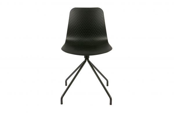 Stuhl Sis 2er Set Sitzschale Kunsstoff schwarz Gestell Metall
