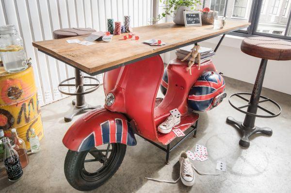 Stehtisch Bar-Tisch Vespa Union Jack Unikat Vintage