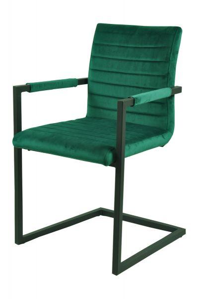 Schwingstuhl Claudia mit Armlhnen 2er Set Bezug grün