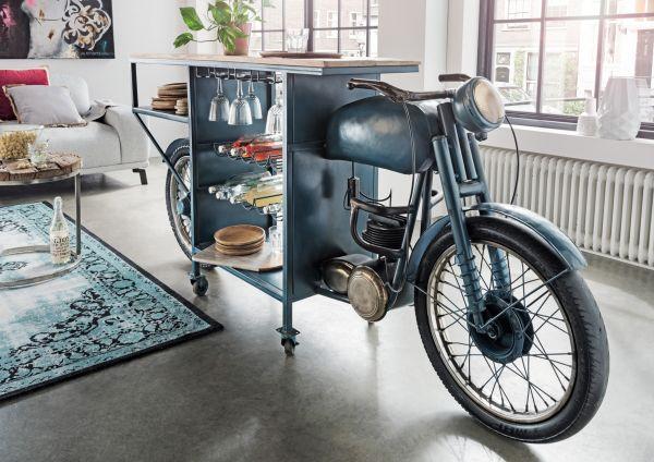 Moto-Bike Bar XL Metall blau Vintage