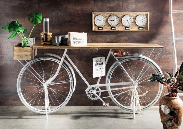 Fahrrad-Konsole Metall weiß Holz Natur