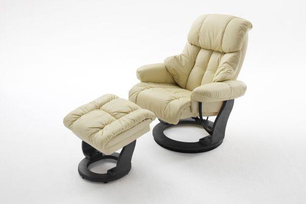 Relaxsessel CALGARY Relaxer inkl. Hocker Leder creme