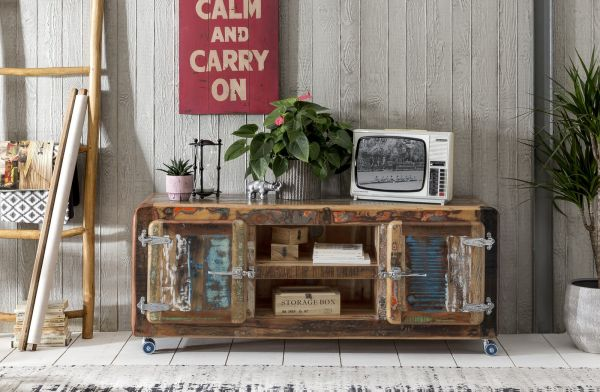 Lowboard Fridge Massiv Holz Vintage