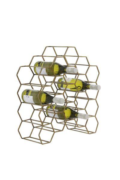 Weinregal Salbris für 20 Flaschen Metall Antik gold