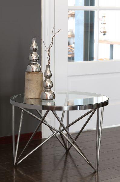 Beistelltisch Orebo Gestell Nickel Glasplatte klar