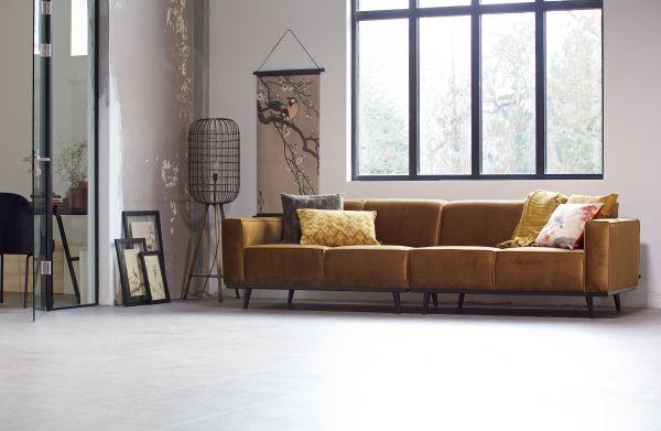 XL Sofa Statement Bezug Samt honigelb