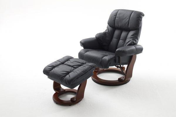 Relaxsessel CALGARY Relaxer inkl. Hocker Leder schwarz
