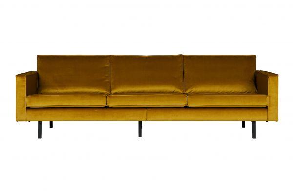 3-Sitzer Sofa Rodeo Bezug Samt gelb Beine Metall schwarz