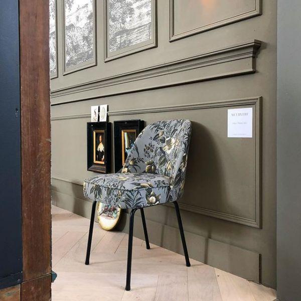 Stuhl Vogue 2er Set Bezug Samt poppy grau
