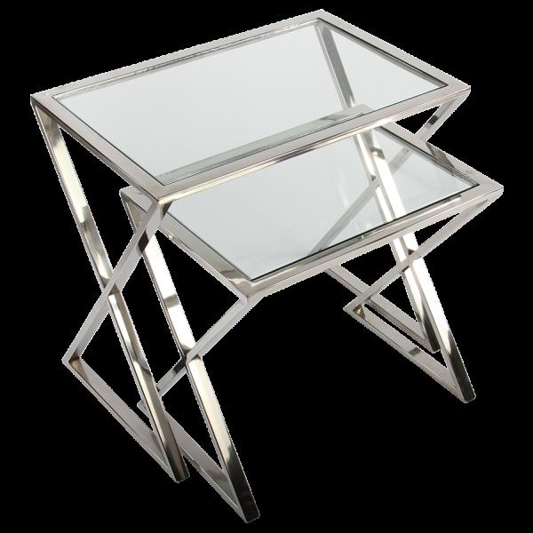 Beistelltisch Cavallo 2er Set verchromt Glas