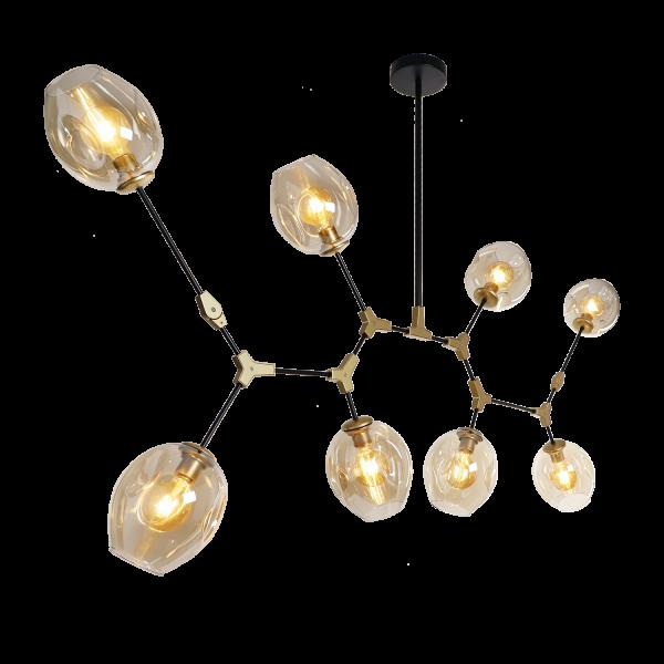 Hängelampe Lorenzo 8-flg. Antik gold Glas