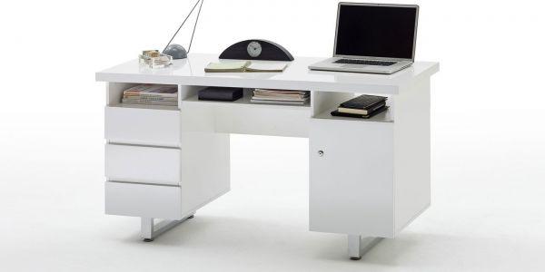 Schreibtisch New York OFFICE MDF Hochglanz weiß lackiert