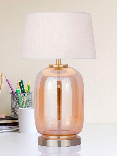 Tischleuchte Glas mit Metallsockel gold