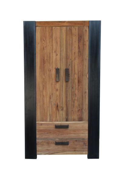 Schrank Croco mit 2 Türen Teakholz Massiv Seiten Metall