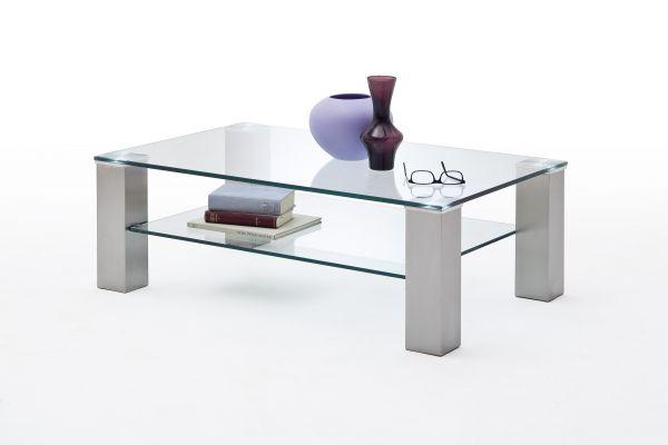 Couchtisch ASTA II mit Glasplatte Edelstahloptik gebürstet